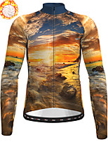 cheap -21Grams Men's Long Sleeve Cycling Jersey Winter Fleece Polyester Black / Yellow Bike Jersey Top Mountain Bike MTB Road Bike Cycling Fleece Lining Breathable Warm Sports Clothing Apparel / Stretchy