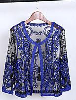 cheap -3/4 Length Sleeve Coats / Jackets Poly&Cotton Blend Party / Evening / Office / Career Women's Wrap With Embroidery / Paillette