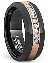 cheap -8mm polished black tungsten ring rose gold inlay with cubic zircon comfort fit (9)