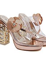cheap -Women's Sandals Chunky Heel Open Toe Casual Daily Walking Shoes PU Black Champagne