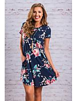 cheap -Women's A-Line Dress Knee Length Dress - Half Sleeve Print Pocket Patchwork Print Summer Casual Cotton Slim 2020 Black Blue S M L XL