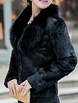 cheap -Long Sleeve Coats / Jackets Faux Fur Party / Evening / Office / Career Bolero With Solid