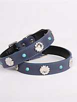 cheap -Dog Collar Adjustable Retractable Durable Outdoor Walking Classic Snowflake PU Leather Medium Dog Blue 1pc
