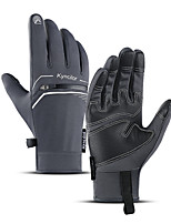 cheap -Winter Bike Gloves / Cycling Gloves Touch Gloves Waterproof Windproof Warm Skidproof Full Finger Gloves Sports Gloves Fleece Black Grey for Adults' Cycling / Bike