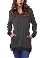 cheap -women's long sleeve side split pullover tunic tops m dark grey-black