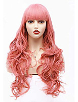 cheap -halloweencostumes wavy wig with bang 22 inches long synthetic full hair wigs for women for cosplay costume or halloween party (pink)