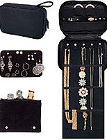 cheap -travel jewelry organizer. tangle-free necklace with roll out mat, earring card for studs, drop and hoops, and ring organizer. black compact case fits perfectly in a carry on!