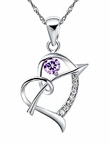 cheap -silver color love heart arrow necklace for women girls white gold plated anniversary birthday purple cubic zirconia pendant necklace for women n662