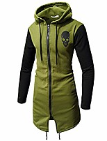 cheap -mens slim fit hoodie sweatshirt autumn winter cotton hooded skull zipper long sleeve top blouse casual jacket coat army green