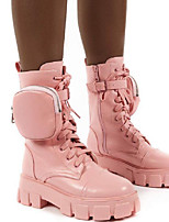 cheap -Women's Boots Chunky Heel Round Toe Booties Ankle Boots Casual Daily Walking Shoes Leather PU Lace-up Solid Colored Pink / Grey White Black / Booties / Ankle Boots