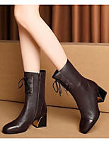cheap -Women's Boots Chunky Heel Round Toe Casual Daily Walking Shoes PU Black Brown / Booties / Ankle Boots