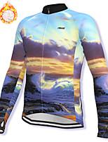 cheap -21Grams Men's Long Sleeve Cycling Jacket Winter Fleece Spandex Purple Bike Jacket Mountain Bike MTB Road Bike Cycling Fleece Lining Warm Sports Clothing Apparel / Stretchy / Athleisure
