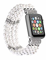 cheap -replacement for apple watch band 42/44mm handmade beaded elastic stretch faux pearl bracelet replacement for iwatch strap/wristband for iwatch series 4/3, series 5 white for women girl