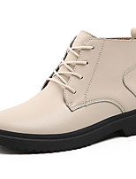 cheap -Women's Boots Flat Heel Round Toe Casual Daily Walking Shoes Cowhide Black Beige / Booties / Ankle Boots