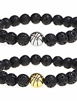 cheap -lava rock beads bracelet basketball nature stone bracelet gift for men boys 2pcs