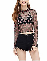 cheap -women sexy floral embroidery mesh t-shirt tulle long sleeve see through crop tops