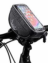 cheap -bike frame bag, bike pouch bag top tube bike bag touch screen waterproof smart phone holder road bike handlebar bag for 6 inch smartphones