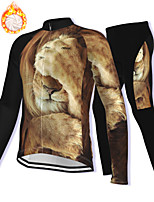 cheap -21Grams Men's Long Sleeve Cycling Jacket with Pants Winter Fleece Spandex Brown Lion Bike Fleece Lining Warm Sports Graphic Mountain Bike MTB Road Bike Cycling Clothing Apparel / Stretchy