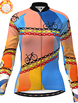 cheap -21Grams Women's Long Sleeve Cycling Jersey Winter Fleece Polyester Blue Bike Jersey Top Mountain Bike MTB Road Bike Cycling Fleece Lining Breathable Warm Sports Clothing Apparel / Stretchy