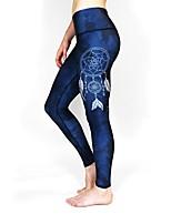 cheap -Women's Basic Casual Comfort Daily Gym Leggings Pants Multi Color Ankle-Length Patchwork Print Blue