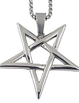 cheap -inverted pentagram pentacle 316l stainless steel (silver)