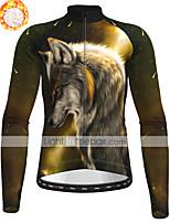 cheap -21Grams Men's Long Sleeve Cycling Jersey Winter Fleece Polyester Dark Green Animal Wolf Bike Jersey Top Mountain Bike MTB Road Bike Cycling Fleece Lining Breathable Warm Sports Clothing Apparel
