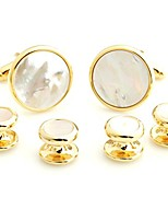cheap -classic austere round stone cufflinks and tuxedo studs set for mens gift - white and gold