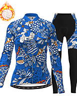 cheap -21Grams Women's Long Sleeve Cycling Jersey with Tights Winter Fleece Polyester Blue Bike Clothing Suit Thermal Warm Fleece Lining Breathable 3D Pad Warm Sports Printed Mountain Bike MTB Road Bike