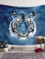 cheap -Wall Tapestry Art Deco Blanket Curtain Hanging Home Bedroom Living Room Dormitory Decoration Polyester Fiber Animal Painted Blue Tiger