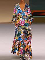 cheap -Women's Sheath Dress Midi Dress - 3/4 Length Sleeve Print Print Fall Winter V Neck Casual Vintage Christmas Slim 2020 Red Yellow M L XL XXL 3XL 4XL 5XL