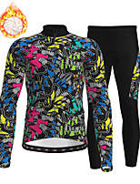 cheap -21Grams Men's Long Sleeve Cycling Jersey with Tights Winter Fleece Polyester Black 3D Bike Clothing Suit Thermal Warm Fleece Lining Breathable 3D Pad Warm Sports Graphic Mountain Bike MTB Road Bike