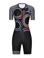 cheap -Men's Women's Short Sleeve Triathlon Tri Suit Polyester Black Polka Dot Bike Clothing Suit Breathable 3D Pad Quick Dry Reflective Strips Sweat-wicking Sports Polka Dot Mountain Bike MTB Road Bike