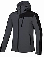 cheap -Men's Hiking Softshell Jacket Hiking Windbreaker Hiking Fleece Jacket Winter Outdoor Thermal Warm Windproof Quick Dry Lightweight Hoodie Winter Jacket Top Hunting Fishing Climbing Black Navy Blue Gray