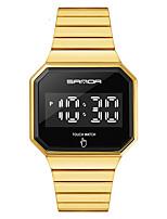 cheap -SANDA Men's Digital Watch Digital Sporty Minimalist Water Resistant / Waterproof Digital Rose Gold Black Blue / Two Years / Stainless Steel