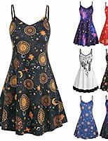 cheap -mini dress starry sky printed strappy sun sleeveless vest top for women girls brown-xxxxl