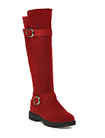 cheap -Women's Boots Chunky Heel Round Toe Mid Calf Boots Casual Daily Nubuck Solid Colored Almond Black Burgundy / Mid-Calf Boots