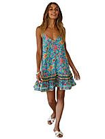cheap -womens dresses summer floral print v-neck spaghetti strap mini swing skater dress sundress green l