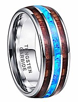 cheap -8mm tungsten rings for men women wedding bands real blue opal koa wood inlay polished comfort fit