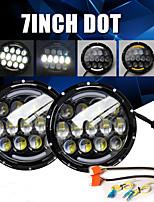 cheap -2 Pcs 105W Head Light 7 Inch Round Headlights Angel Eyes Turn Signal Light for Lada Niva Off Road Hummer Land Rover Car Accessories Black