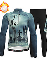 cheap -21Grams Men's Long Sleeve Cycling Jersey with Tights Winter Fleece Polyester Grey Skull Christmas Bike Clothing Suit Thermal Warm Fleece Lining Breathable 3D Pad Warm Sports Graphic Mountain Bike MTB