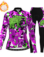 cheap -21Grams Women's Long Sleeve Cycling Jersey with Tights Winter Fleece Polyester Black / Yellow Purple Red Camo / Camouflage Animal Bike Clothing Suit Fleece Lining Breathable 3D Pad Warm Quick Dry