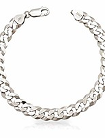 cheap -sterling silver cuban link bracelet for men, 925 sterling silver flat curb/cuban link bracelet, sterling silver bracelet for men, 8.5mm,10.5mm,12.5mm, silver polishing cloth and gift pouch included