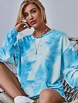 cheap -Women's T Shirt Dress Tee Dress Short Mini Dress - Long Sleeve Tie Dye Patchwork Spring Fall Casual 2020 Light Blue S M L