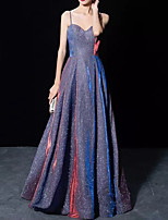 cheap -A-Line Glittering Elegant Prom Formal Evening Dress Spaghetti Strap Sleeveless Floor Length Sequined with Pleats 2020