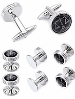 cheap -mens black cufflinks and studs set for tuxedo dress shirt - with a auncel in the black onxy