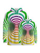 cheap -Family Look Active Graphic Optical Illusion Print Long Sleeve Regular Hoodie & Sweatshirt Rainbow