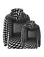 cheap -Family Look Active Graphic Optical Illusion Print Long Sleeve Regular Hoodie & Sweatshirt Black