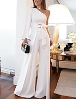 cheap -Two Piece Minimalist Elegant Party Wear Prom Dress One Shoulder Long Sleeve Floor Length Spandex with Sash / Ribbon 2020