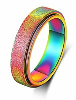 cheap -spinner band ring for women men 6mm wide titanium stainless steel fidget rings, sand blasted finish outer, hand polish inner surface, rainbow color, size 10