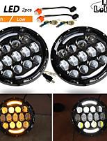 cheap -2 Pcs 105W Running Lights 7 Inch Headlights Angel Eyes H4 Hi Lo 9-30V for 4X4 Lada Niva Uaz Offroad 12V 24V